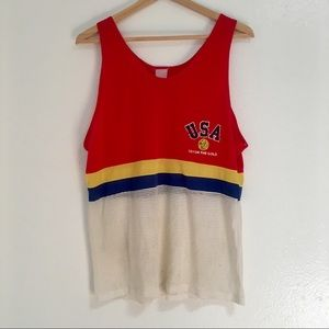 Vintage 1970s 1980s USA Mesh Athletic Tank Top